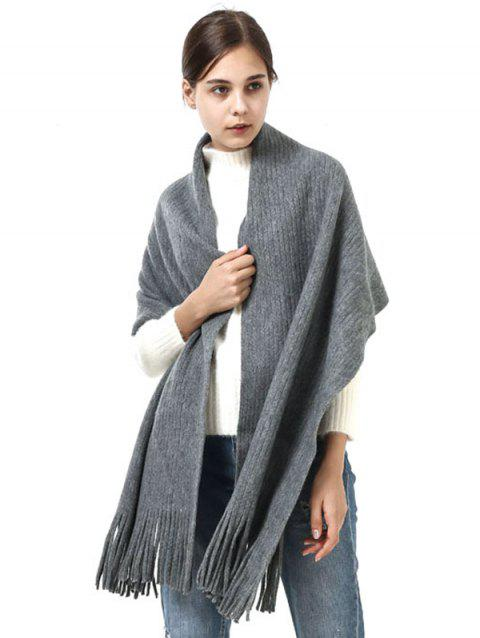 Outdoor Fringed Knit Long Shawl Scarf - LIGHT GRAY