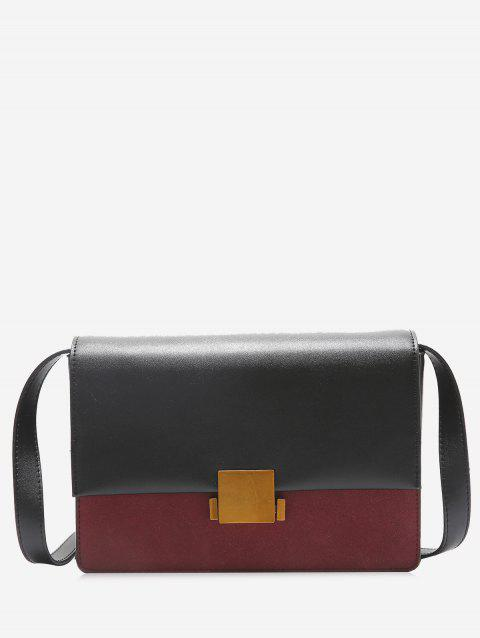 Metal Detailed Contrasting Color Crossbody Bag - RED