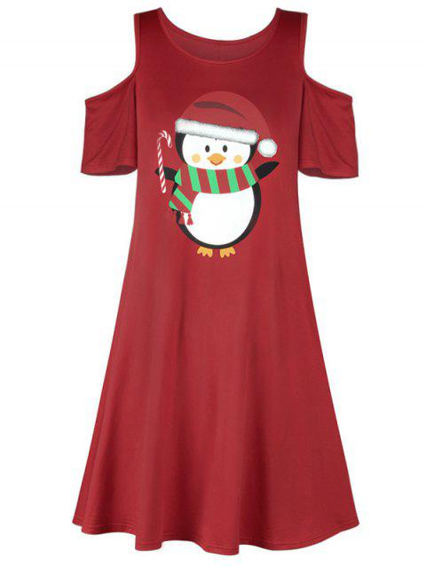 Christmas Penguin Cold Shoulder Dress - RED ONE SIZE