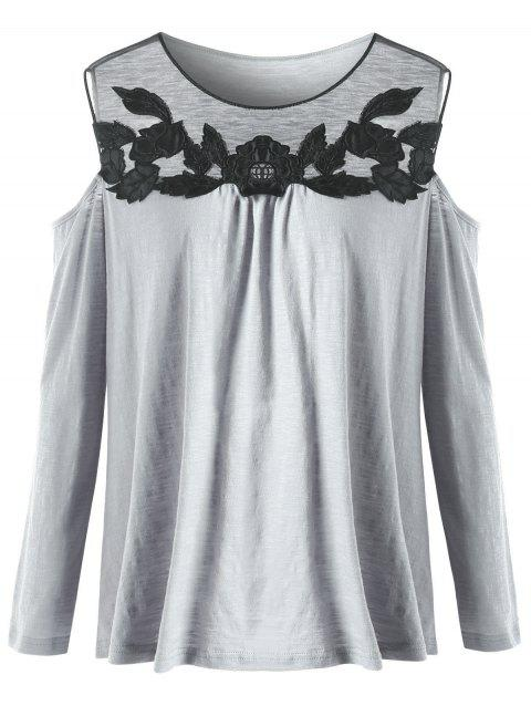 b0574095879c12 2019 Plus Size Floral Embroidered Cold Shoulder T-shirt In GRAY 5XL ...