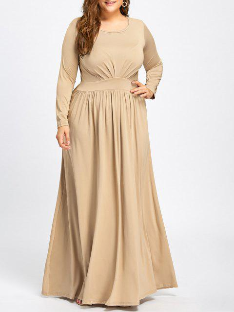 Long Sleeve Plus Size Floor Length Dress - APRICOT XL