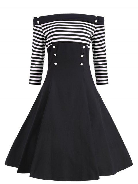 Buttons Striped Off The Shoulder Vintage Dress - BLACK XL