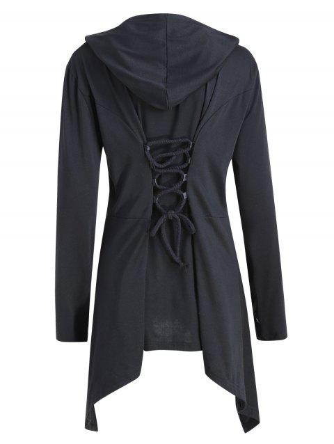 Plus Size Back Lace Up Asymmetric Hooded Coat - BLACK XL