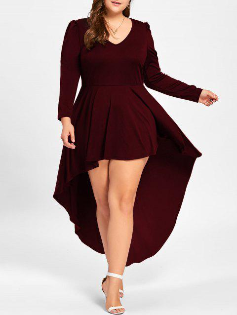 Robe Cocktail Grande Taille à Col en V - Vin rouge 2XL