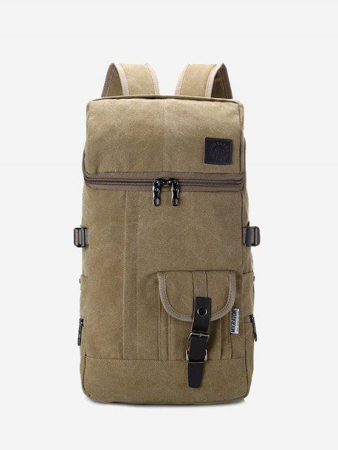 Buckle Straps Zip Backpack - KHAKI