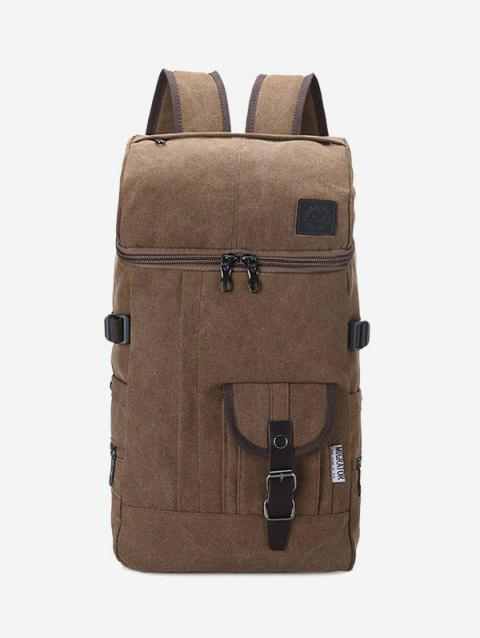 Buckle Straps Zip Backpack - COFFEE