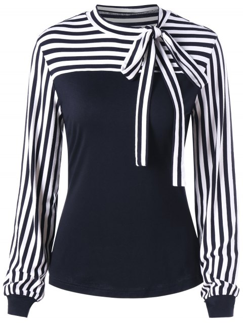 Bowknot Striped Long Sleeve Top - BLACK L