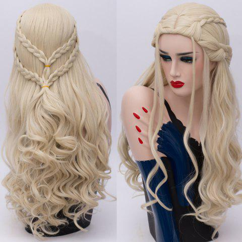 Perruque Cosplay Long Tresse Ondé Synthétique Game of Thrones Daenerys Targaryen - Or Clair