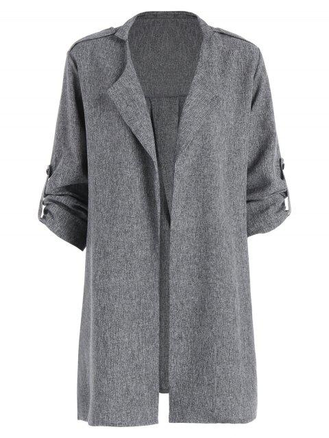 Plus Size Marled Roll Sleeve Long Trench Coat - GRAY 5XL