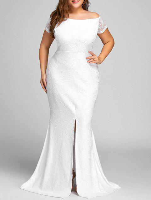 Off The Shoulder Lace Slit Plus Size Dress - WHITE 3XL