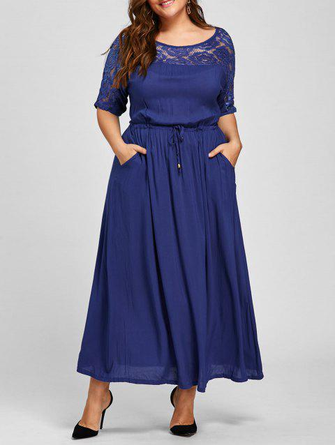 Lace Trim Plus Size Maxi Drawstring Dress - BLUE 2XL