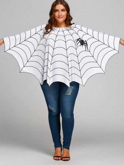 84d583910e8e0 LIMITED OFFER  2019 Halloween Spider Web Printed Plus Size Poncho ...