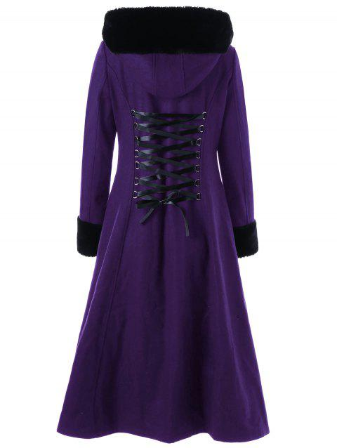 Lace Up Longline Hooded Coat - CONCORD 2XL