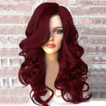 Side Part Fluffy Long Wavy Synthetic Wig