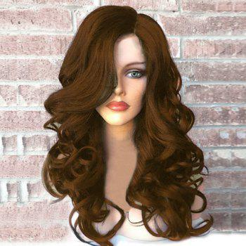 Side Part Fluffy Long Wavy Synthetic Wig - BROWN BROWN