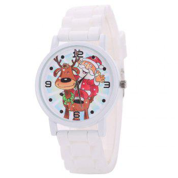 Christmas Deer Santa Face Silicone Watch - WHITE WHITE