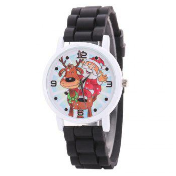 Christmas Deer Santa Face Silicone Watch - BLACK BLACK