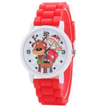 Christmas Deer Santa Face Silicone Watch - RED RED