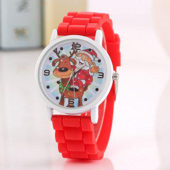 Christmas Deer Santa Face Silicone Watch - RED