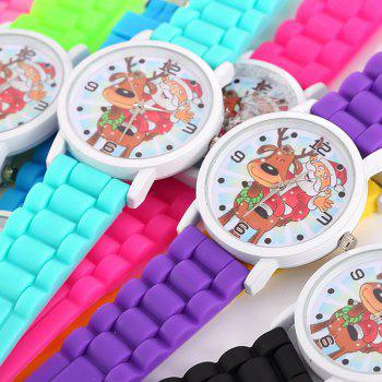 Christmas Deer Santa Face Silicone Watch - PINK