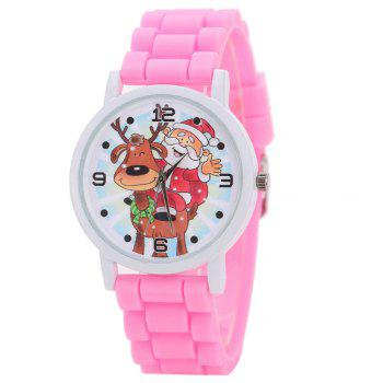 Christmas Deer Santa Face Silicone Watch - PINK PINK