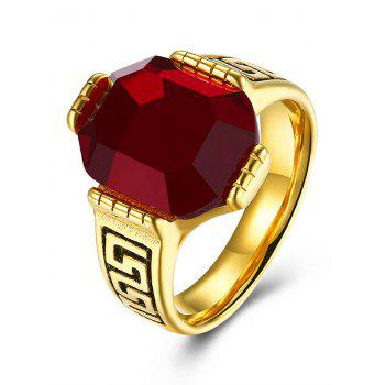 Faux Ruby Engraved Fret Finger Ring - RED 7