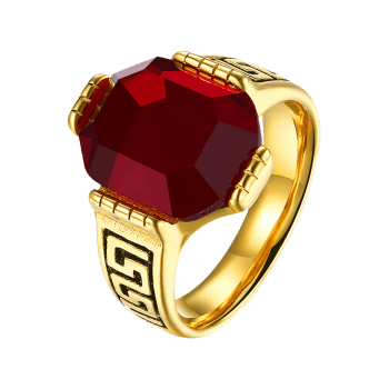 Faux Ruby Engraved Fret Finger Ring - Rouge 8