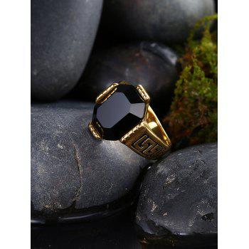 Faux Ruby Engraved Fret Finger Ring - BLACK 10