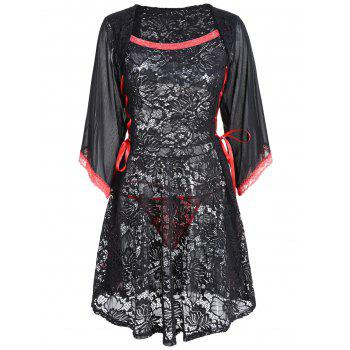 Lace See Through Vintage Robe Lingerie - [