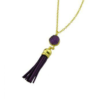 Faux Leather Tassels Pendant Necklace -  PURPLE