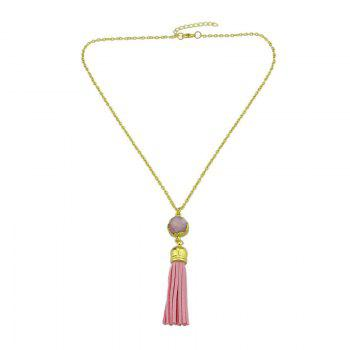 Faux Leather Tassels Pendant Necklace -  PINK