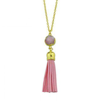 Faux Leather Tassels Pendant Necklace - PINK PINK