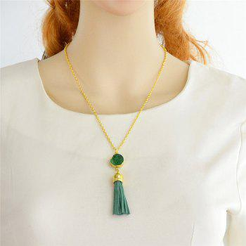 Faux Leather Tassels Pendant Necklace - GREEN
