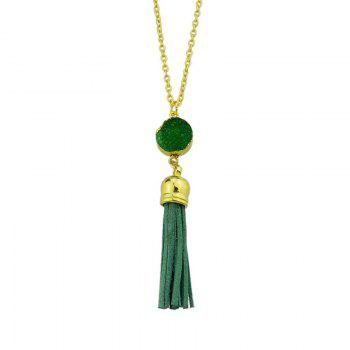 Faux Leather Tassels Pendant Necklace - GREEN GREEN