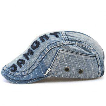 Outdoor Letter Pattern Embellished Denim Newsboy Hat -  LIGHT BLUE