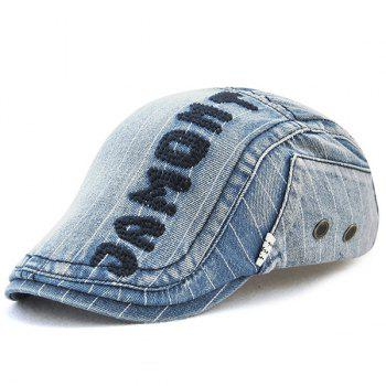 Outdoor Letter Pattern Embellished Denim Newsboy Hat - LIGHT BLUE LIGHT BLUE