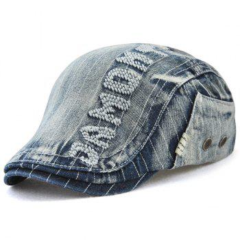 Outdoor Letter Pattern Embellished Denim Newsboy Hat - DEEP BLUE DEEP BLUE