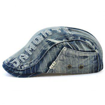 Outdoor Letter Pattern Embellished Denim Newsboy Hat -  DEEP BLUE