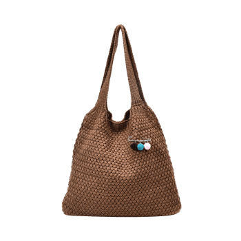 Braid Pom Pom Shoulder Bag - BROWN