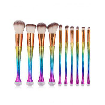 10 Pcs Ombre Color Multifunction Makeup Brushes Set -  GRADUAL BROWN