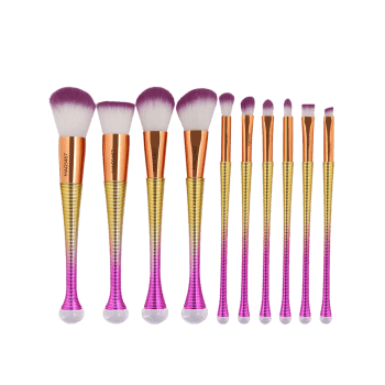 10 Pcs Ombre Color Multifunction Makeup Brushes Set - GRADUAL YELLOW