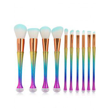 10 Pcs Ombre Color Multifunction Makeup Brushes Set - GRADUAL BLUE GRADUAL BLUE