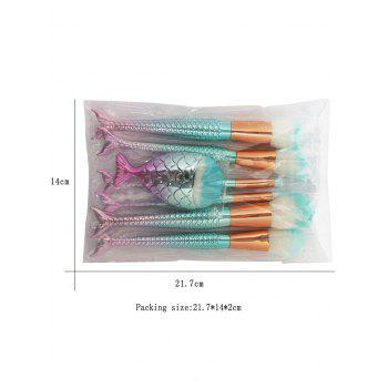 7 Pieces Ombre Mermaid Makeup Brush Set - COLORMIX