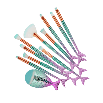 11 Pieces Ombre Mermaid Makeup Brush Set -  COLORMIX