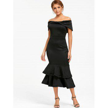 Bowknot Off The Shoulder Mermaid Bodycon Dress - Noir S