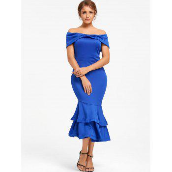 Bowknot Off The Shoulder Mermaid Bodycon Dress - Bleu S