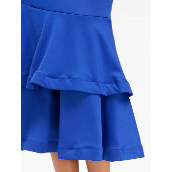 Bowknot Off The Shoulder Mermaid Bodycon Dress - Bleu M