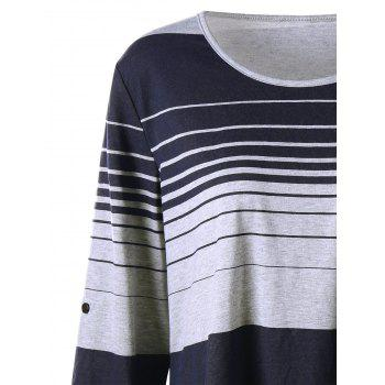 Plus Size High Low Long Sleeve Striped T-shirt - COLORMIX 3XL