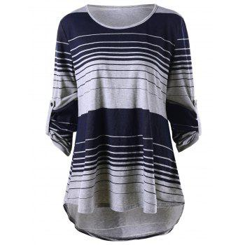 Plus Size High Low Long Sleeve Striped T-shirt - COLORMIX 2XL