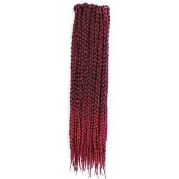 Three-strand Box Braids Long Synthetic Hair Weave - WINE RED